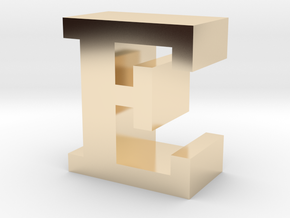 """E"" inch size NES style pixel art font block in 14K Yellow Gold"