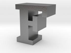 """""""F"""" inch size NES style pixel art font block in Natural Silver"""