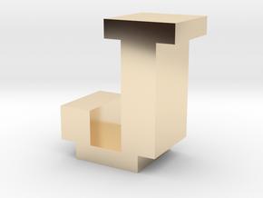 """J"" inch size NES style pixel art font block in 14K Yellow Gold"