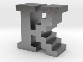 """""""K"""" inch size NES style pixel art font block in Natural Silver"""