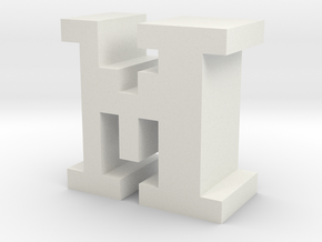 """M"" inch size NES style pixel art font block in White Natural Versatile Plastic"