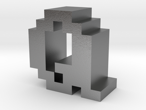 """""""Q"""" inch size NES style pixel art font block in Natural Silver"""