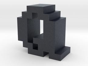 """Q"" inch size NES style pixel art font block in Black PA12"