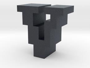 """V"" inch size NES style pixel art font block in Black Professional Plastic"