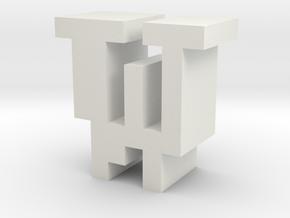 """W"" inch size NES style pixel art font block in White Natural Versatile Plastic"
