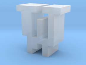 """""""W"""" inch size NES style pixel art font block in Smooth Fine Detail Plastic"""