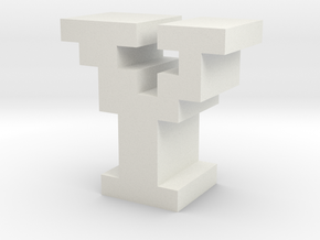 """Y"" inch size NES style pixel art font block in White Natural Versatile Plastic"
