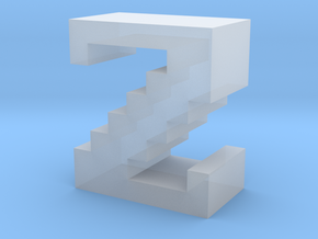 """""""Z"""" inch size NES style pixel art font block in Smooth Fine Detail Plastic"""