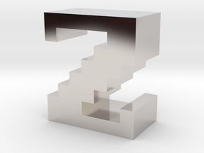 """Z"" inch size NES style pixel art font block in Rhodium Plated Brass"