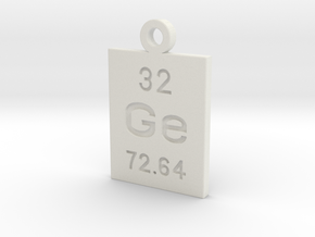 Ge Periodic Pendant in White Natural Versatile Plastic