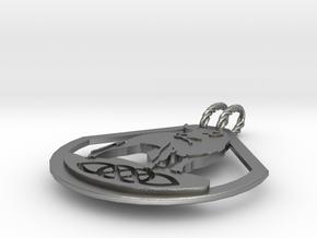 Celtic Zodiac Bull Pendant in Natural Silver