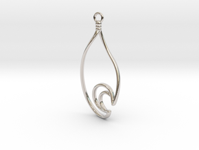 Waterdrop Moon Earring - Alternate Curve in Rhodium Plated Brass