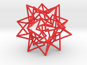 Star Dodecahedron in Red Processed Versatile Plastic