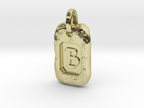 Old Gold Nugget Pendant B in 18k Gold Plated Brass