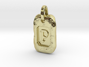 Old Gold Nugget Pendant P in 18k Gold Plated Brass