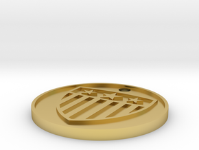 Customizable Coin Tag: US Shield Emblem Edition in Polished Brass