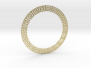 Circular Meander Pendant in Natural Brass