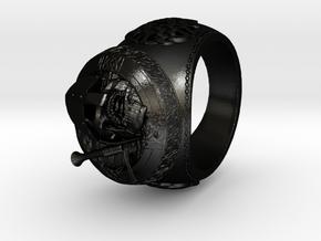 Celtic Grave Signet Ring in Matte Black Steel