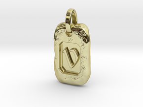 Old Gold Nugget Pendant V in 18k Gold Plated Brass