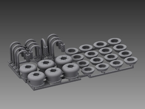 Deck vents and deck lights set 1/48 in Smooth Fine Detail Plastic