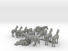 13 N Scale Horses in Gray Professional Plastic
