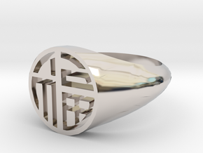 Fortune (Luck) - Lady Signet Ring in Rhodium Plated Brass: 3 / 44