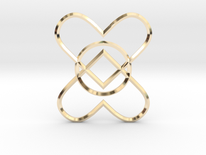 2 Hearts 1 Ring Pendant in 14K Yellow Gold
