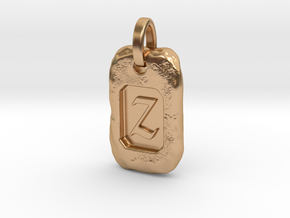 Old Gold Nugget Pendant Z in Polished Bronze
