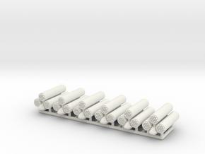 (1:100) x6 Rocket Launcher Triplet in White Natural Versatile Plastic