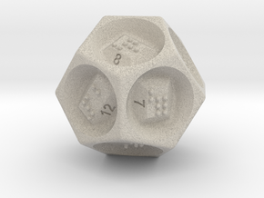 D12 Dice - Braille in Natural Sandstone