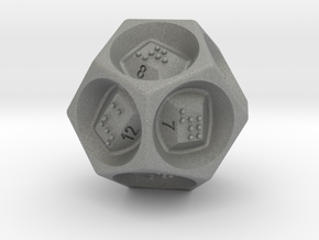 D12 Dice - Braille in Gray PA12
