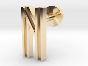 Letter N in 14k Gold Plated Brass