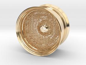 RC Car Rim 1:14 Hexagonal Grid 04 in 14k Gold Plated Brass