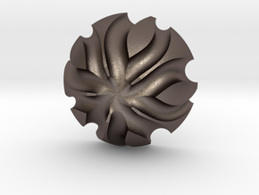 3K Collection - Flower Ring (Top) in Polished Bronzed-Silver Steel