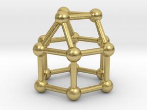 0769 J18 Elongated Triangular Cupola (a=1cm) #3 in Natural Brass