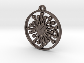 Floral Pendant IV in Polished Bronzed-Silver Steel