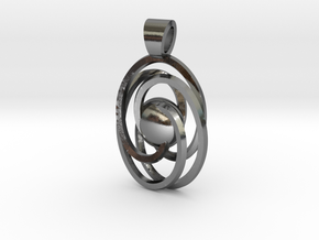 Abstract atom [pendant] in Polished Silver