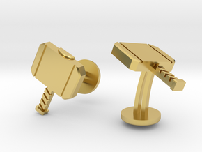Thor Wedding Cufflinks in Polished Brass