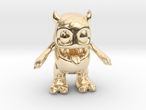 Baby Monster Colored_small in 14k Gold Plated Brass