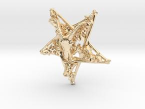Inverted Pentagram Goat Bone Pendant in 14K Yellow Gold