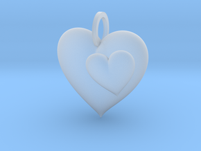 2 Hearts Pendant in Smooth Fine Detail Plastic