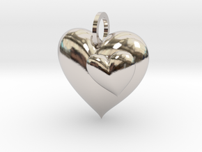 2 Hearts Pendant in Rhodium Plated Brass