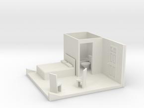 S Scale Bedroom Interior in White Natural Versatile Plastic