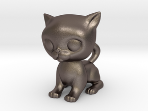Cute Baby Cat in Polished Bronzed-Silver Steel