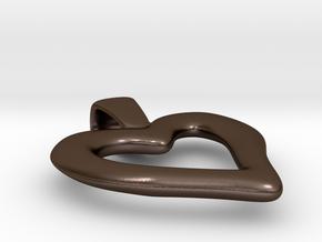 Heart Pendant in Polished Bronze Steel