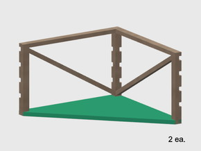Barbed Wire Fence Square Outside Corner Posts (HO) in White Natural Versatile Plastic: 1:87 - HO