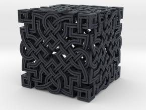 Infinity Knot - Six Face Cube in Black Professional Plastic