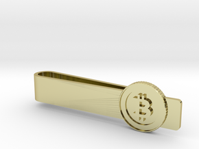 Bitcoin Coin Tie Bar in 18k Gold Plated Brass