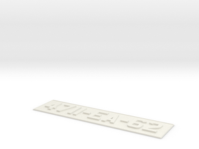 number plate 2 in White Natural Versatile Plastic