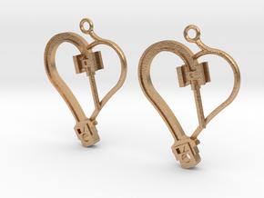 Crosshead Heart Earrings  in Natural Bronze